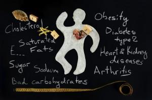 Obese figure on blackboard